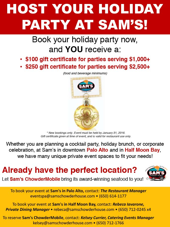 Host Your Holiday Party at Sam's! Book your holiday party now. Click to download PDF.