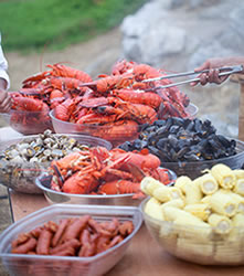 lobster clambake buffet table