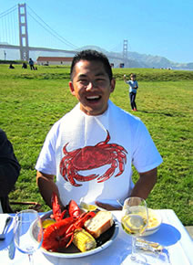 enjoying lobster clambake at Golden Gate Park