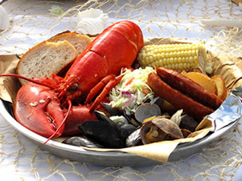 lobster clambake plate closeup