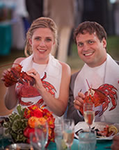 couple enjoying Sam's lobster clambake