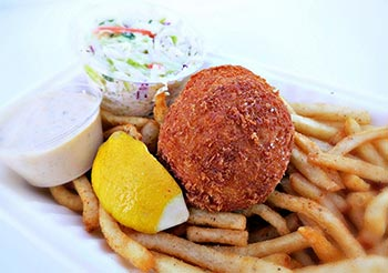 Crispy Maryland Style Crab Cake served with Old Bay Fries, coleslaw and remoulade